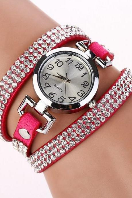 Rhinestones Dress Popular Girl Wrap Hot Pink Band Watch