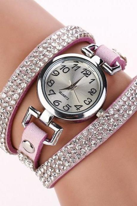Rhinestones Dress Popular Girl Wrap Purple Band Watch