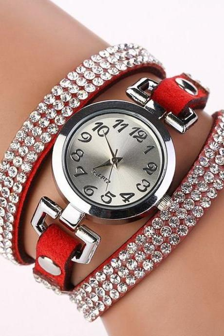 Rhinestones Dress Popular Girl Wrap Red Band Watch