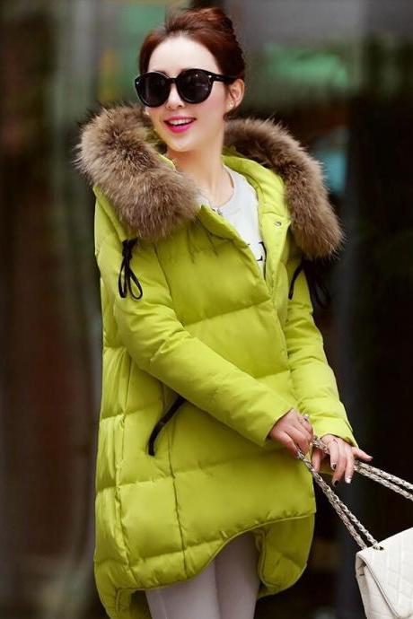 Red Down Parka for Women Raccoon Fur Winter Red Coats 90% Down Filling