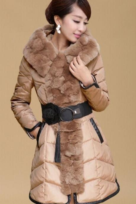 Brown Down Parkas for Women with Raccoon Fur Winter Coats 90% Down Filling
