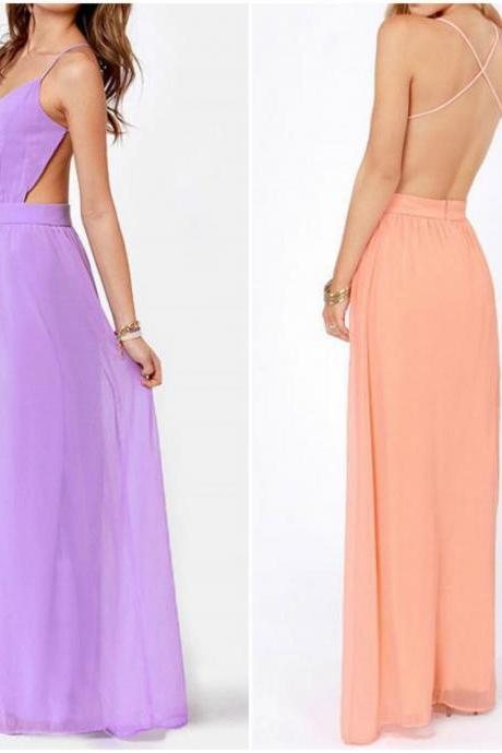 Elegant Cross Back Spaghetti Strap Long Dress In Purple And Pink