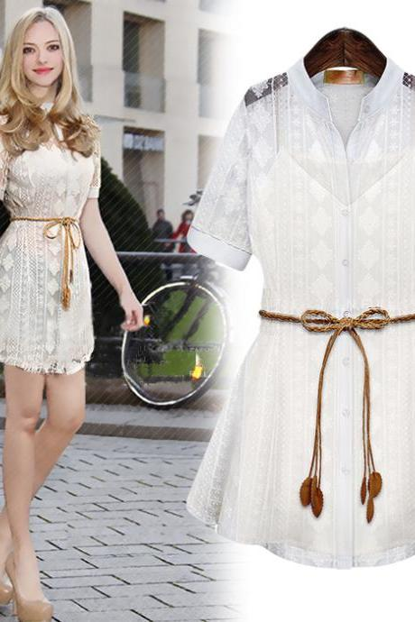 Summer New Hollow Lace Shirt Crochet Two-Piece Dress With Belt Straps Bottoming