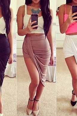 MULTICOLOR HIGH ELASTIC WAIST BELLY IN SKIRTS