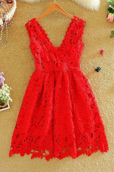 Red V Lace Dress