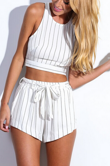 HOT STRIPE WHITE TWO PIECE SUIT HIGH QUALITY
