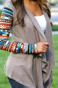 Fashion geometrical irregular long sleeve cardigan