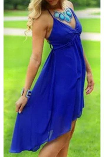 Royal Blue Chiffon Cage Back Design Dress