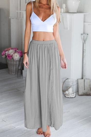 Cute White Top And Grey Skirt Set