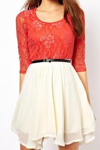 STITCHING LACE CHIFFON DRESS