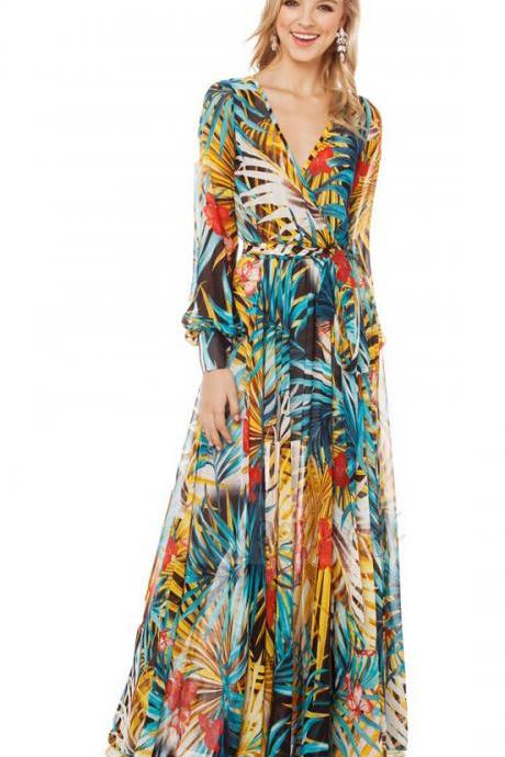 A Tropical Rainforest Flowery Printing Plant Flowers Dress