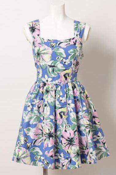Exclusive Custom Hollow Out Printed Sleeveless Condole Belt Big Flower Painting Summer Dress