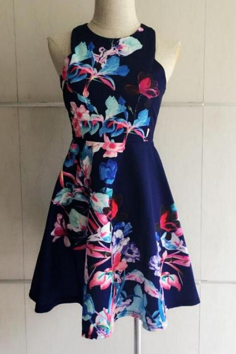 Restoring Ancient Ways Of Tall Waist Sleeveless Printing Sexy Dress