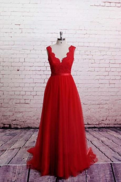 Chines red lace tulle long v neck sexy open backless evening see-though vintage with satin belt wedding dress bridal gown dresses for bride evening dress wedding gown