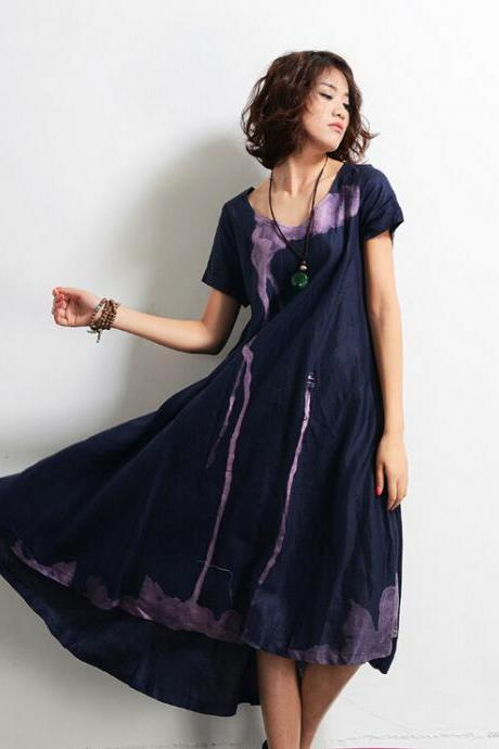 Handmade Ink Cotton Skirt Casual Maxi Long Skirt