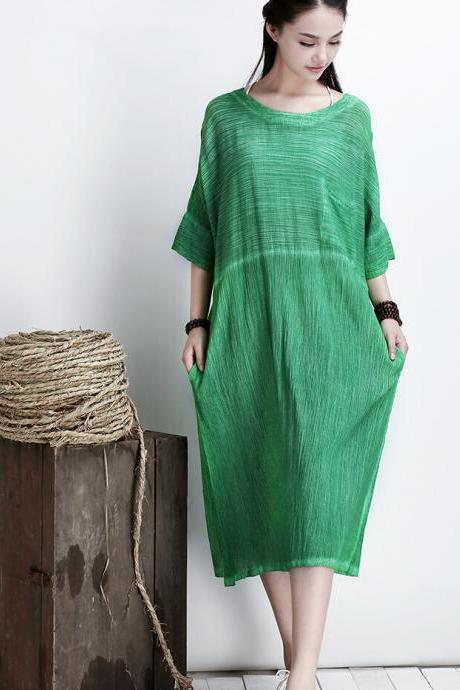 Green Women Thin Cotton Maxi Dress Plus Size Long Skirt