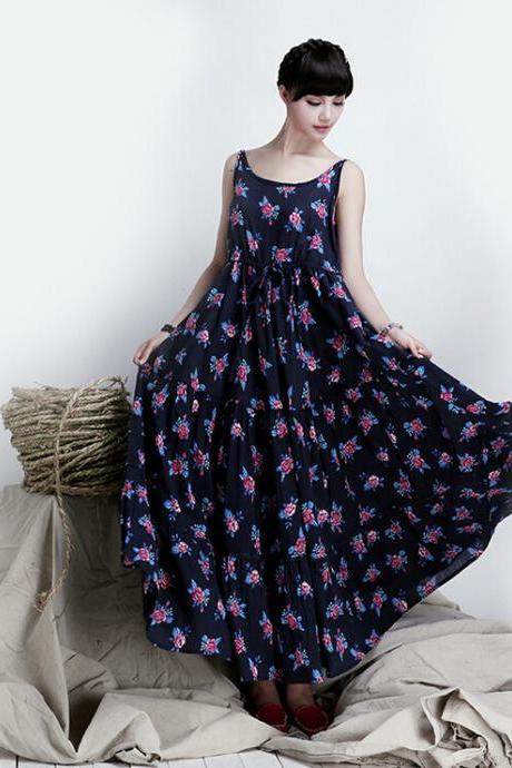Summer Vest Long Skirt Cotton Floral Beash Skirt