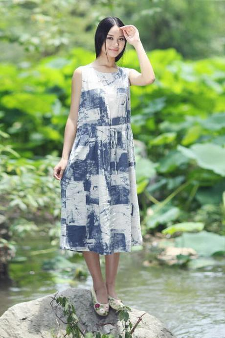 Ink Cotton Vest Skirt Summer Sleeveless Maxi Dress