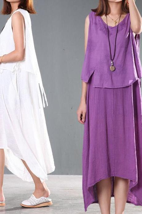 Two Layers Women Maxi Long Skirt Sleeveless Sundress Purple / White