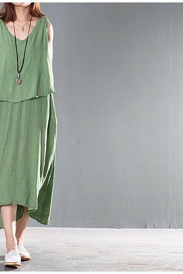 Two Layers Women Maxi Long Skirt Sleeveless Sundress Green