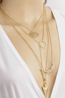 Golden Arrow head Layered Necklace