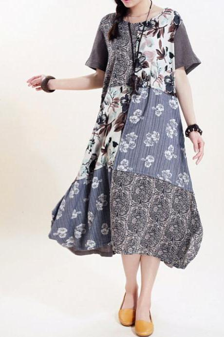 Blue Flower Women long sundress Linen stitching Long short sleeved dress