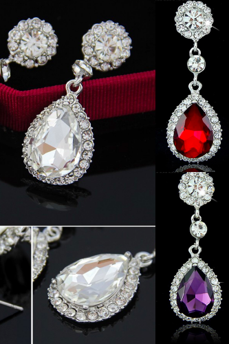 *Free Shipping* New Brand Fashion Crystal Jewelry Big Platinum Plated Dangle Water Drop Earrings For Women