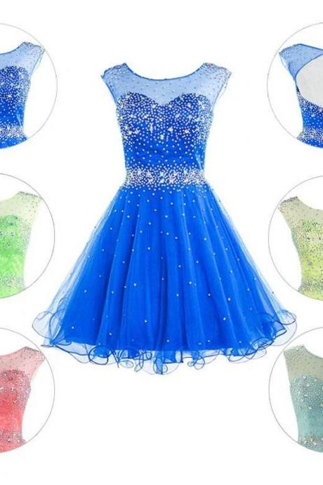 2015 New Short Prom Dresses Homecoming Dress Graduation Gown With Sheer Scoop Cap Sleeve Crystals Royal Blue Coral Lime Tulle