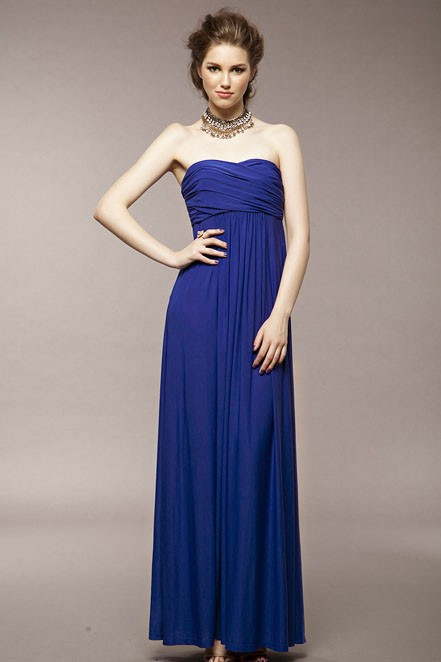 Hot saler Blue Strapless Pleated Chiffon Dress