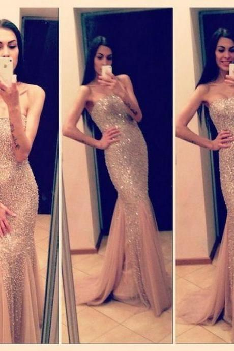 Sparkling Custom Made Sexy Mermaid Champagne Prom Dresses 2015, New Style Prom 2015, Prom Gown, Evening Dresses, Formal Dresses, Long Prom Dresses