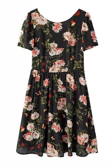 Black Floral Print Short Chiffon Skater Dress Featuring Cutout Back