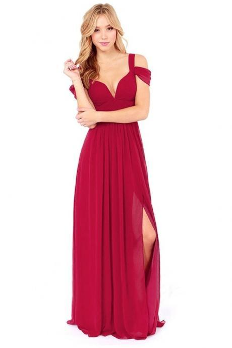 Hot sale Red Split Front V-Neck Sweep Maxi Dress for women