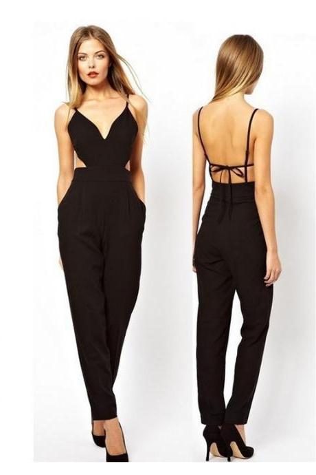 Black Plunge V Spaghetti Strap Jumpsuit Featuring Cutout Detailing