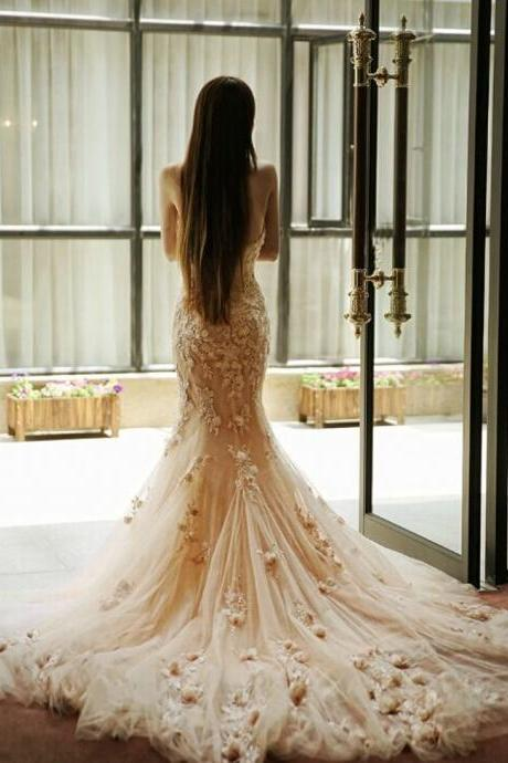 Backless Champagne Mermaid Weddings Dresses,New Design Bridal Dresses 2015,Dresses For Wedding,Custom Made Bridal Dresses,The Charming Bridal Gowns