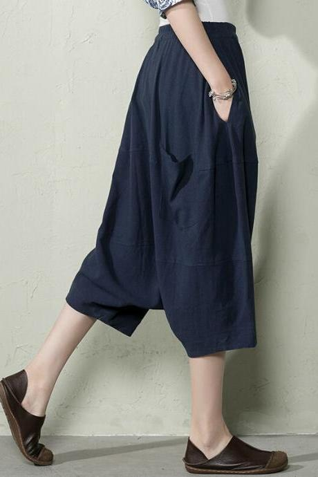 Women Plus Size Pants Summer Linen Short Pants Navy Blue