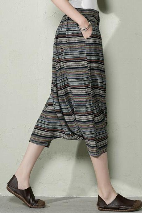 Women Haroun Pants Plus Size Summer Cotton Pants Black Stripe