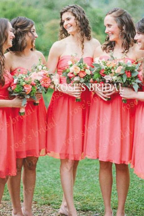 Coral Short Bridesmaid Dress, Wedding Party Dress, Chiffon Bridesmaid Dresses, Junior Bridesmaid Dress, Cheap Bridesmaid Dress, Bridesmaid Dresses For Girls, Cute Bridesmaid Dress