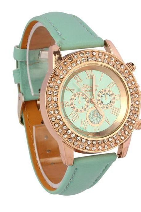 Dress classy rhinestones green woman fashion watch