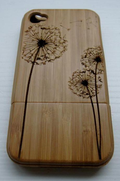 Iphone 4 case - wooden cases bamboo, cherry and walnut wood - Dandelion - laser engraved