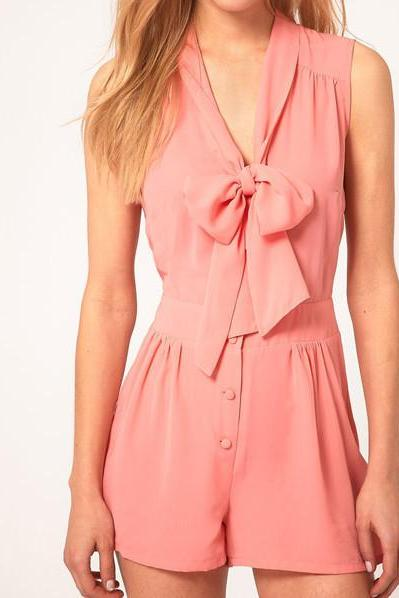 BOWKNOT SLEEVELESS CHIFFON JUMPSUIT