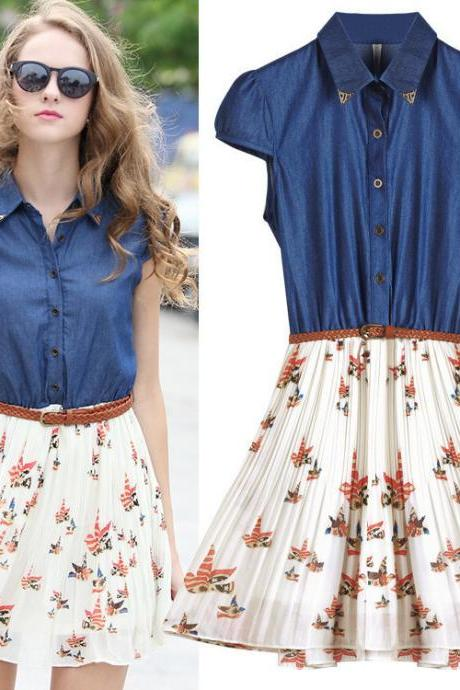 Cap Sleeved Denim Dress with Chiffon Pleated Skirt