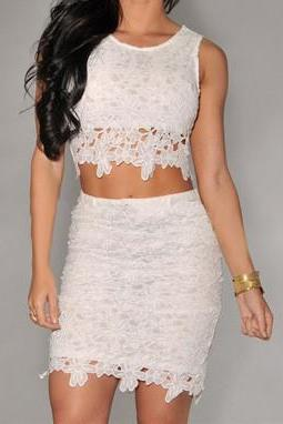 LACE HOLLOW-OUT BACKLESS TWO PIECE MY0125FY
