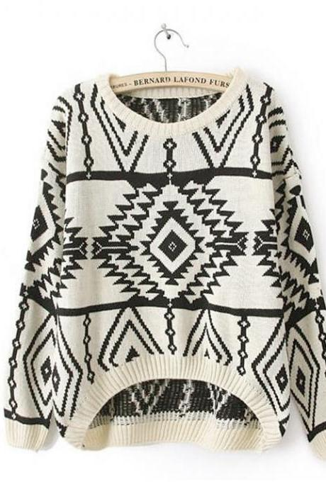 Women Loose Geometry Printed Pullover Sweater