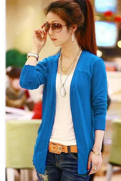 Candy Color Irregular Cardigan Knit Tops