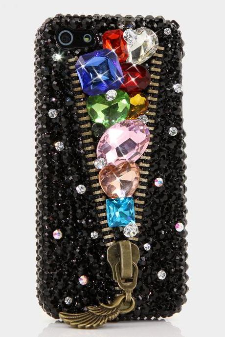 Bling Crystals Phone Case for iPhone 6 / 6s, iPhone 6 / 6s PLUS, iPhone 4, 5, 5S, 5C, Samsung Note 2, Note 3, Note 4, Galaxy S3, S4, S5, S6, S6 Edge, HTC ONE M9 (RAINBOW LUX ZIPPER DESIGN) By LuxAddiction
