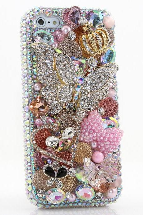 Bling Crystals Phone Case for iPhone 6 / 6s, iPhone 6 / 6s PLUS, iPhone 4, 5, 5S, 5C, Samsung Note 2, Note 3, Note 4, Galaxy S3, S4, S5, S6, S6 Edge, HTC ONE M9 (DIAMOND DIVA DESIGN) By LuxAddiction