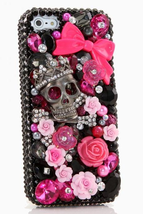 Bling Crystals Phone Case for iPhone 6 / 6s, iPhone 6 / 6s PLUS, iPhone 4, 5, 5S, 5C, Samsung Note 2, Note 3, Note 4, Galaxy S3, S4, S5, S6, S6 Edge, HTC ONE M9 (BLACK SKULL AND WILDROSES DESIGN) By LuxAddiction