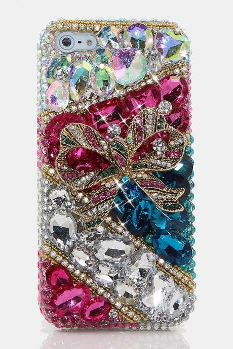Bling Crystals Phone Case for iPhone 6 / 6s, iPhone 6 / 6s PLUS, iPhone 4, 5, 5S, 5C, Samsung Note 2, Note 3, Note 4, Galaxy S3, S4, S5, S6, S6 Edge, HTC ONE M9 (PRETTY PRESENT DESIGN) By LuxAddiction