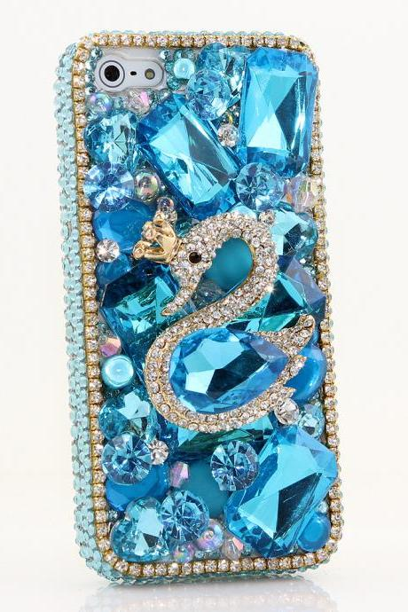Bling Crystals Phone Case for iPhone 6 / 6s, iPhone 6 / 6s PLUS, iPhone 4, 5, 5S, 5C, Samsung Note 2, Note 3, Note 4, Galaxy S3, S4, S5, S6, S6 Edge, HTC ONE M9 (BLUE SWAN DESIGN) By LuxAddiction