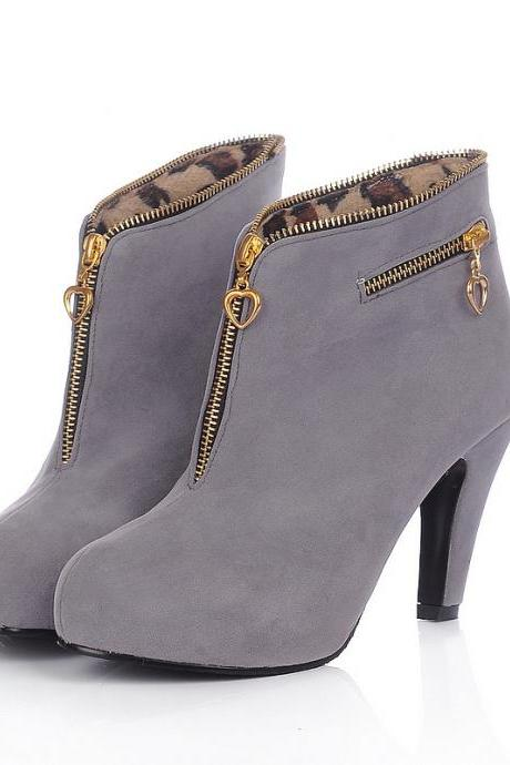 Bow Heel Women Winter Zip Ankle Boots